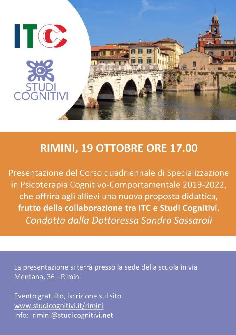 ISC RImini - Presentazione Scuola di Psicoterapia 19 Ottobre - Locandina